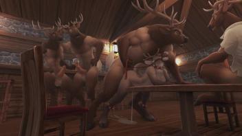 Reindeer Porn หนังการ์ตูนโป๊ เรนเดียร์ของแซนต้ามาพักเหนื่อย เข้าซ่องกะหรี่ของสัตว์ป่าสุดหื่น เย็ดกันทั้งวันเอาให้น้ำเงี่ยนสาดเต็มหีสัตว์